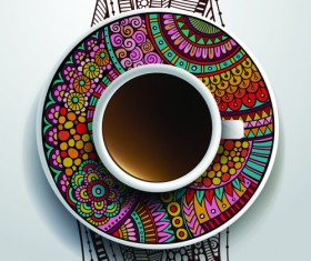 Ethnic pattern ornaments and coffee cups vector 01