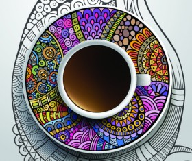 Ethnic pattern ornaments and coffee cups vector 02