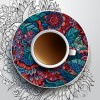 Ethnic pattern ornaments and coffee cups vector 03
