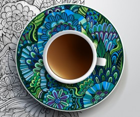 Ethnic pattern ornaments and coffee cups vector 04