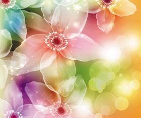 Fantasy flowers shiny vector background 01