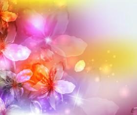 Fantasy flowers shiny vector background 02