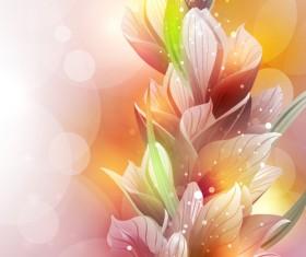 Fantasy flowers shiny vector background 03