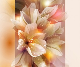Fantasy flowers shiny vector background 04