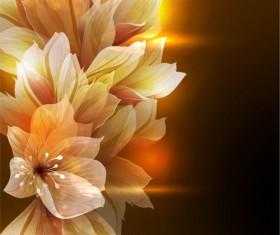 Fantasy flowers shiny vector background 05