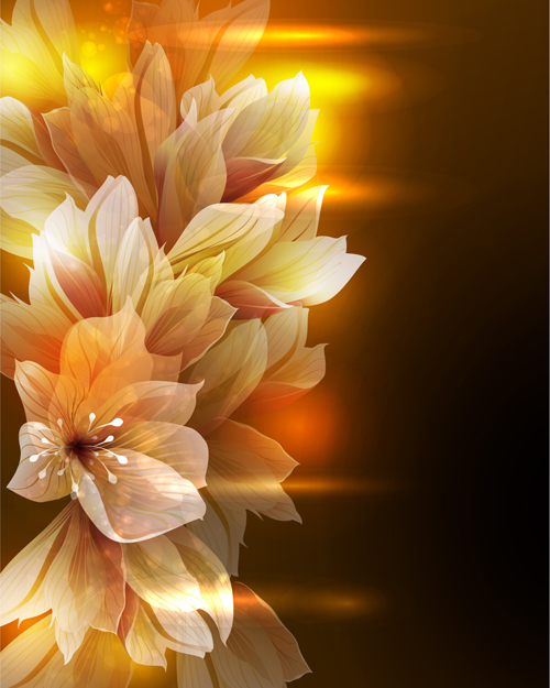Fantasy Flowers Shiny Vector Background 05 Free Download