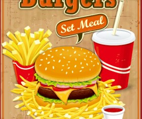 Fast food retro poster design vector