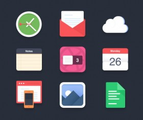 Flat application psd icons design