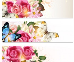 Flowers and butterflies banners vectors 01