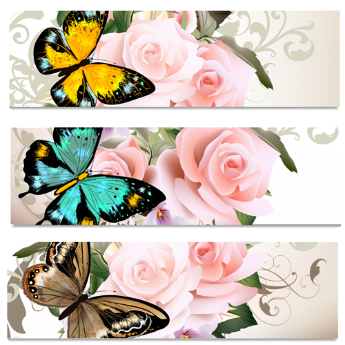 Flowers and butterflies banners vectors 02