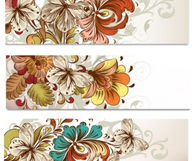 Flowers and butterflies banners vectors 03