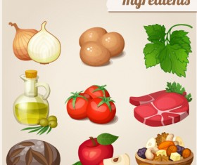 Food ingredients icons vector graphics