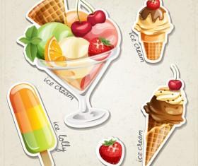 Fresh fruit and ice cream vector set 01