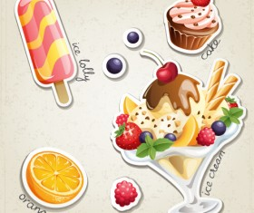 Fresh fruit and ice cream vector set 02