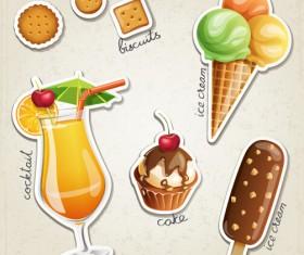 Fresh fruit and ice cream vector set 04