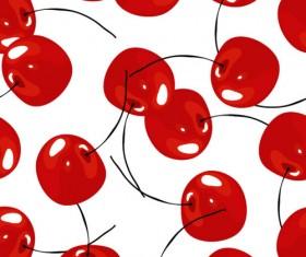 Fresh red cherries vector seamless pattern
