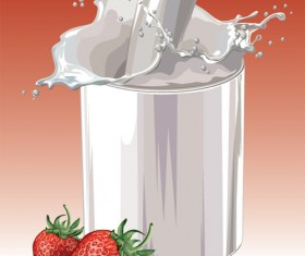 Fresh strawberries and milk design vector 02