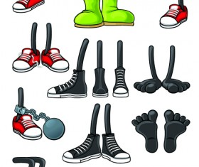 Funny cartoon shoes vector graphics