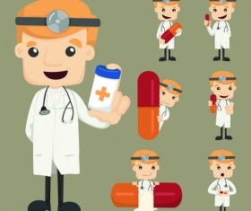 Funny doctor character vectors graphics 04