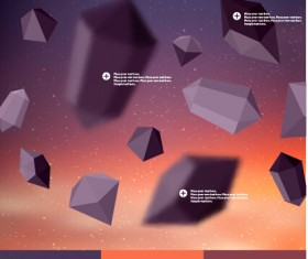 Geometric polygonal objects vector background 01