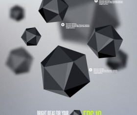 Geometric polygonal objects vector background 04