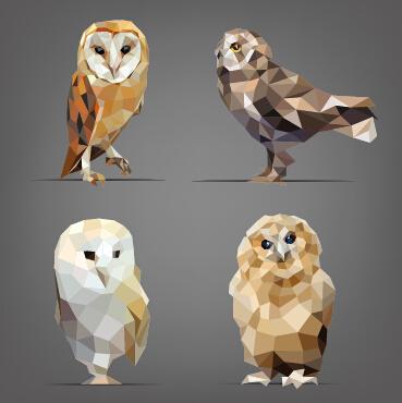 Geometric shapes wild animals vector graphics 03