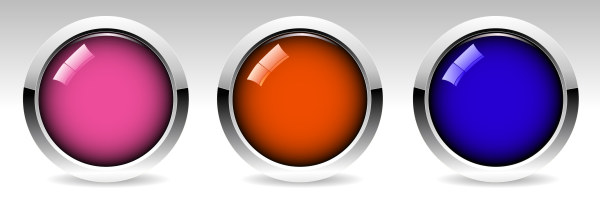 Glass textured round colored button vector