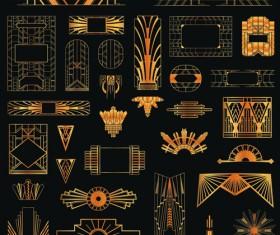Golden art ornament elements vector 02