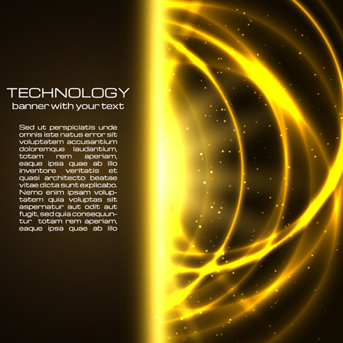 Golden glow tech background vector material – Over millions