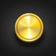 Golden round button psd material