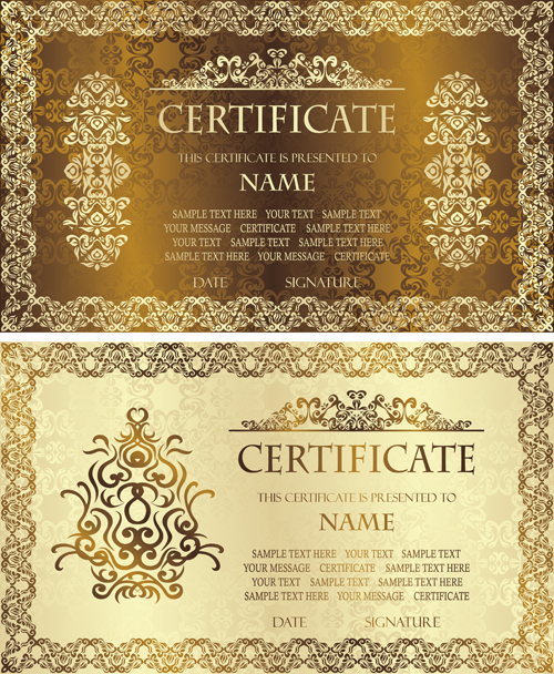 Golden template certificate design vector 01 vector cover free golden template certificate design vector 01 yadclub Gallery