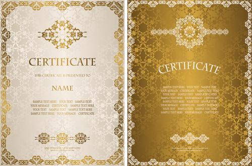 Elegant Marriage Certificate Template Golden Edition: Golden Template Certificate Design Vector 04 Free Download