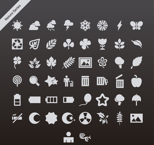 Gray nature series vector icons