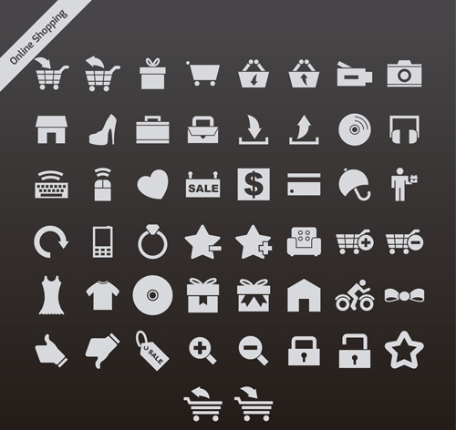 Gray online shopping series vector icons