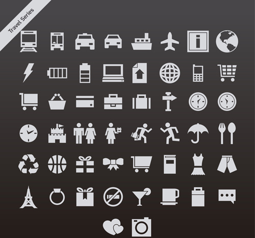 Gray travel series vector icons
