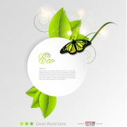 Link toGreen leaf and butterfly shiny background vector