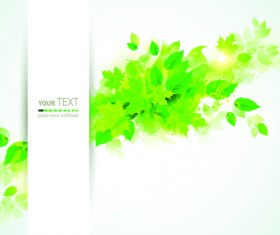 Green leaves with grunge background graphics vector 02