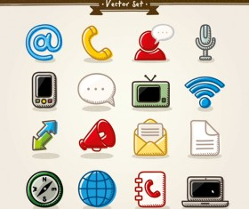 Hand drawn communication vector icons