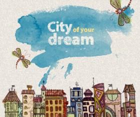 Hand drawn dreams city design vector 01