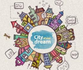 Hand drawn dreams city design vector 02