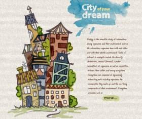 Hand drawn dreams city design vector 03