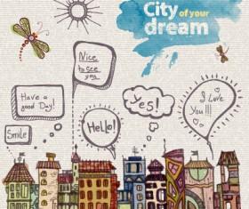 Hand drawn dreams city design vector 04