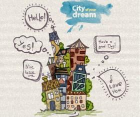 Hand drawn dreams city design vector 05