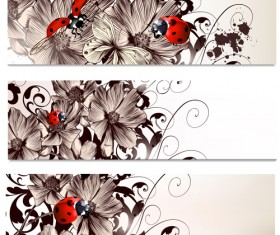 Hand drawn flowers and coccinella vector banners