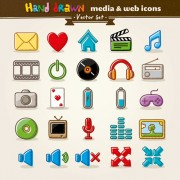 Link toHand drawn media and web vector icons