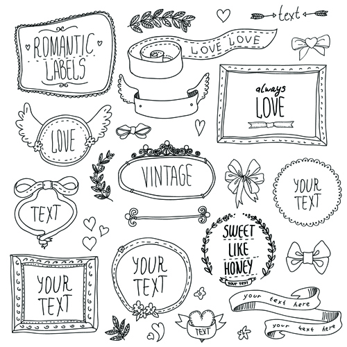 Hand Drawn Romantic Frame With Ornaments Elements Vector 01 Free