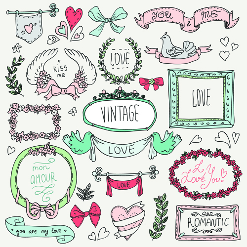Free EPS file Hand drawn romantic frame with ornaments elements vector ...