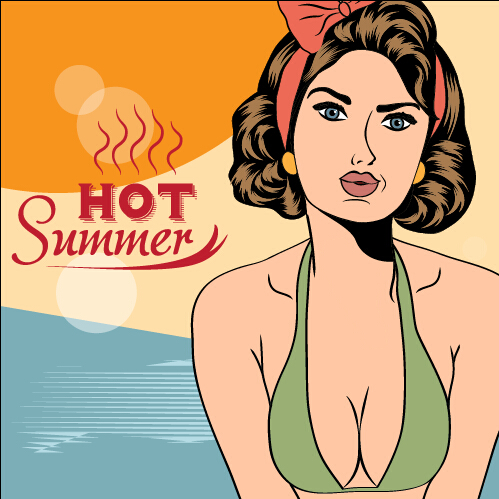 Hot summer sexy woman vector background 01