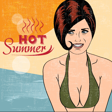 Hot summer sexy woman vector background 05