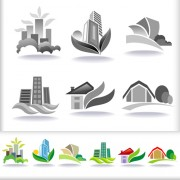 Link toLeaf with home abstract icons vector 01
